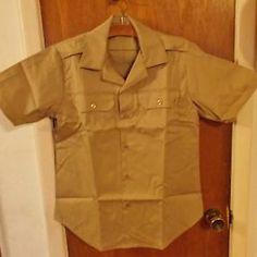 US Army Khaki Men's Medium Short Sleeve Shirt 1977, Vietnam era unissued