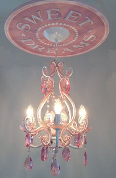 Nursery Pink Chandelier with Sweet Dreams Ceiling by MarieRicci