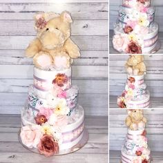 Girls Floral Hippo Nappy Cake