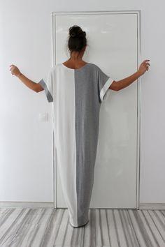 Grey and White Caftan Dress, Maxi Dress, Oversized dress, Party Dress, Kaftan, Summer Dress, Abaya dress