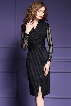 4a6048260e920 Classy Striped V-Neck Lace Patchwork Midi Dress