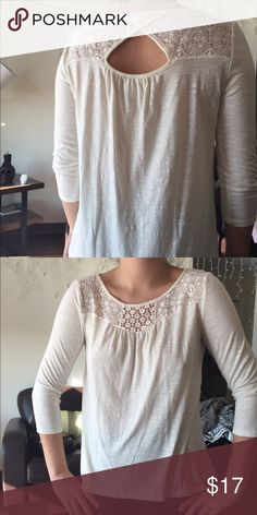 NWOT White lace cutout top NWOT White/ Cream colored lace detailing quarter sleeves top! Cute back cutout. Very soft and great for fall! Tops Tees - Long Sleeve