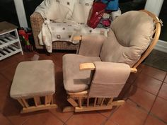 Rocking/gliding Nursing Chair And Matching Footstool In Good Used  Condition. Cream Fabric,