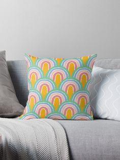 'Rainbow Convention Pattern' Throw Pillow by MadoMade Throw Cushions, Designer Throw Pillows, Rainbow Colours, Take A Nap, Rainbow Bridge, Pillow Design, Original Art, Comfy, Floor