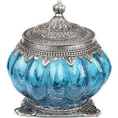 Blue and silver Crackle Bulb Fret Jar