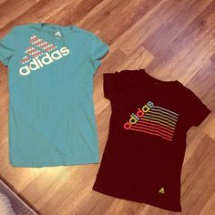 ADIDAS -bundle of 2 women's gym t-shirts Blue is sz small, black has tag ripped out but fits like XS. I've worn both a handful of times but both are stain/tear free. Great workout shirts. Adidas Tops Tees - Short Sleeve
