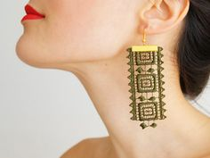 Hey, I found this really awesome Etsy listing at https://www.etsy.com/listing/173726990/maros-lace-earrings-khaki-earrings-green