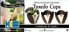 Chocolate Cups by Kane Candy. Chocolate Tuxedo Cups add elegance & style to any dinner party, wedding or special occasion. Pair with Kane Candy White & Pink Chocolate Celebration Cups for bridal events!  www.KaneCandy.com
