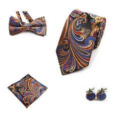 JEMYGINS 4PCS Tie Set Men Bow Tie and Handkerchief Bowtie Cufflinks aff9db358d47