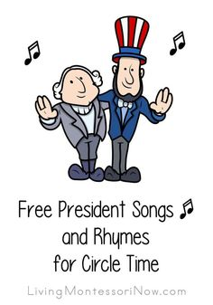 FREE President Songs and Rhymes for Circle Time. Fun for President's Day! Free president songs for Presidents' Day, presidential elections, Inauguration Day, and president unit studies; president songs for a variety of ages Preschool Music, Preschool Lessons, Preschool Activities, Library Activities, Preschool Class, Therapy Activities, Educational Activities, Kindergarten Social Studies, In Kindergarten