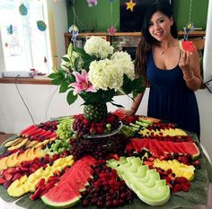 We finally finished the fruit table for my sisters wedding shower with only 1 bridesmaid cutting her finger Who wants to come over and pig out on fruit? Fruit Tray Displays, Fruit Displays, Fruit Buffet, Fruit Dishes, Fruit Trays, Fruit Decorations, Food Decoration, Fruit Platter Designs, Party Food Platters