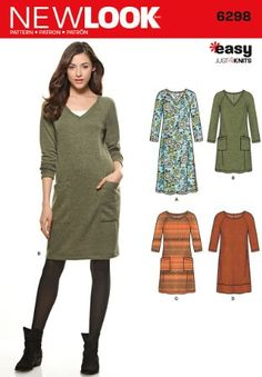 Knitting Patterns Dress Purchase New Look 6298 Misses' Knit Dress with Neckline & Length Variations and read its pattern… Tunic Sewing Patterns, Clothing Patterns, Dress Patterns, Knitting Patterns, Vogue Patterns, Coat Patterns, Sewing Basics, Sewing For Beginners, Basic Sewing