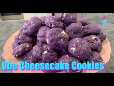 Ube Cheesecake Recipe, Ube Dessert Recipe, Cheesecake Cookies, Dessert Recipes, Ube Recipes, Baked Donut Recipes, Sweet Recipes, Cookie Recipes, Pinoy Dessert
