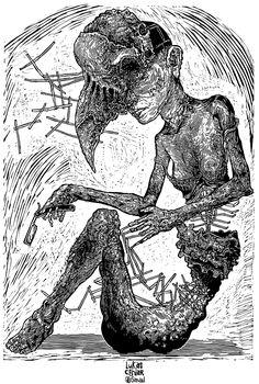 Razorblade - linocut illustration
