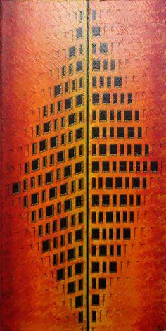 Tableau moderne : Façades. Pour voir un aperçu vidéo de cette œuvre, rendez-vous sur : https://youtu.be/nsXjGLi8VE0  Format : 30 cm x 60 cm x 2 cm. Prix : 230 Euros. Cette œuvre sera prochainement disponible à la vente sur le site officiel de l'artiste : https://www.artmajeur.com/fr/art-gallery/gallery/1520011/9696340/facades #tableau #contemporain #peinture #façades #abstraites #design #originale #œuvre #art #toile #chaude