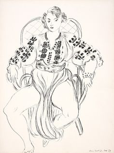 Henri Matisse - Portrait of Tamara, dancer at rest, 1939, drawing in Chinese ink (1869 - 1954)