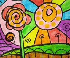 Dab and Dot Markers:  Hundertwasser inspired art project