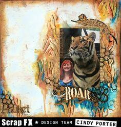 Layout by Cindy Porter, featuring Scrap FX products: Woodgrain stencil, Big Cats stencil, Roar embellishment, chickenwire, #achieve words. www.scrapfx.com.au