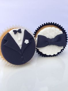 Suit and tie groom engagement/wedding themed cupcakes
