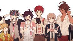 danganronpa pregame with selves Danganronpa Funny, Super Danganronpa, Danganronpa Characters, Nanami Chiaki, Pink Blood, Trigger Happy Havoc, Fan Art, Cute Anime Boy, Fandoms