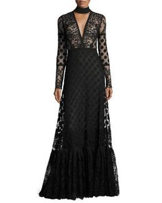 W0DVY Elie Saab Long-Sleeve V-Cutout Lace Gown, Black