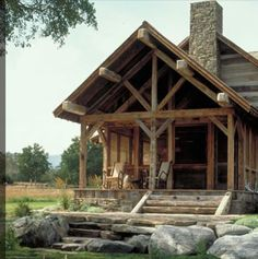 """end porch vs front porch.  Candace Miller Architect.  I love this woman....she just """"gets it"""" as far as amazing, rustic, log design.  A true Montana gal!"""