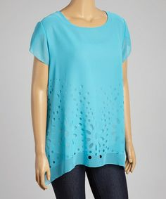 Look what I found on #zulily! Turquoise Sheer Floral Angel-Sleeve Top - Plus #zulilyfinds