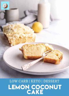 Keto Lemon Coconut Cake with Cream Cheese Icing - FatForWeightLoss Cream Cheeses, Cream Cheese Icing, Cake With Cream Cheese, Desserts Keto, Lemon Desserts, Dessert Recipes, Breakfast Recipes, Coconut Cake From Scratch, Lemon And Coconut Cake