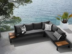 Aspen Outdoor Lounge in Charcoal with Sunbrella Sooty Outdoor Fabric.
