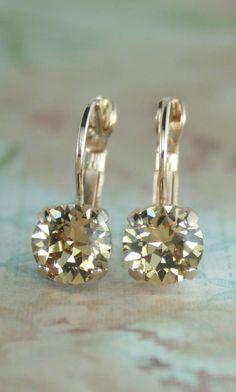 Topaz crystal earringslight brown crystal by EndoraJewellery