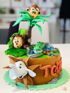 Tort jungla cu elefant, leu, maimuța și crocodil din pasta de zahar. Mai multe modele in cofetăria BBcakes Timisoara Mai, Birthday Cake, Desserts, Food, Tailgate Desserts, Deserts, Birthday Cakes, Essen, Postres
