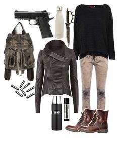 The Scorch Trials Outfit by lili-c on Polyvore featuring Boohoo, Rick Owens, HIGH, Free People, Aesop, Thermos and S'well