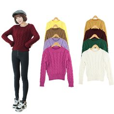 #Simple#sweater give you more choices for collection. Today, let's be a darling girl.