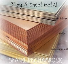BRASS SHEET METAL 3 in square of rich low brass 22g - to stamp saw or make your own blanks. $6.20, via Etsy.