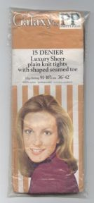 Vintage Pretty Polly Galaxy Nylon Luxury Sheer Plain Knit Tights Circa 1970s Small Hips 91-107cm