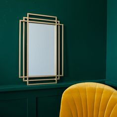 Our portrait art deco style mirror is simplicity itself. With its geometric styling, reminiscent of the art deco era, it brings clean lines to your wall décor. Salon Art Deco, Art Deco Room, Art Deco Living Room, Art Deco Bathroom, Art Deco Decor, Art Deco Mirror, Decoration, Gold Wall Mirror, Art Deco Wall Art