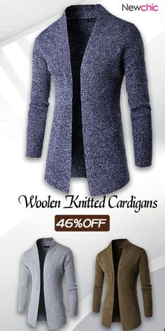 Mens Woolen Knitted Cardigans Solid Color Mid-long Stand Collar Casual  Outwear is cheap and designer 88528172b