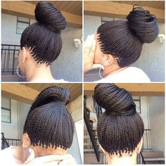 How to style the box braids? Tucked in a low or high ponytail, in a tight or blurry bun, or in a semi-tail, the box braids can be styled in many different ways. Micro Braids Hairstyles, African Hairstyles, Girl Hairstyles, Teenage Hairstyles, Easy Hairstyles, Formal Hairstyles, Black Hairstyles, Havana Twist Hairstyles, Senegalese Twist Hairstyles