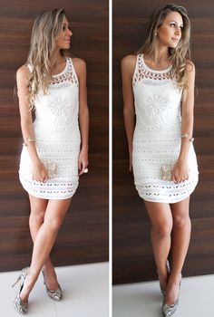 Love this Gorgeous white dress Cute Dresses, Cute Outfits, Vestidos Fashion, Rehearsal Dinner Dresses, Love Fashion, Womens Fashion, Crochet Clothes, Clothing Patterns, Dress To Impress