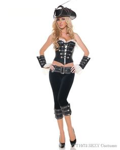 Deluxe Sexy Rouge Pirate with Pants Womens Costume,$82.96