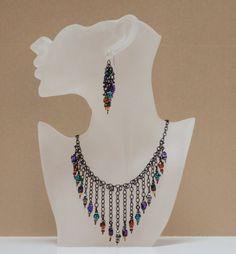 Necklace Vibrant Art Glass Dangles on Black by LindyLeeTreasures