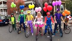 Mario-Kart | 25 Clever Halloween Costumes To Wear As A Group Please can we do this at a go-kart place? maybe throw mushrooms at each other!