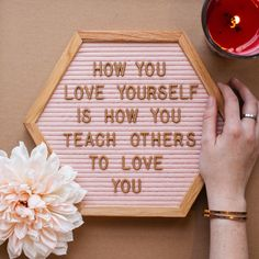 """""""How you love yourself is how you teach others to love you."""" - Rupi KaurnnSharing is caring. If this message resonates with you, please share. Visit our page every day for more inspiration. Babe Quotes, Sign Quotes, Faith Quotes, Words Quotes, Sayings, Meaningful Quotes, Inspirational Quotes, Felt Letter Board, Word Board"""