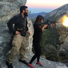 Hiking is always more fun with a machine gun @erikaross_ | Dan Bilzerian Stuff - Girls, Guns and Supercars