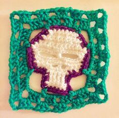 Crochet skull  #crochet #crochetskulls #purple #green #skull