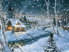 cabin christmas | christmas cabin by lonestar apache screensaver wallpaper cozy cabin ...