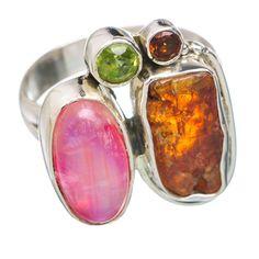 Pink Moonstone, Citrine, Peridot, Garnet 925 Sterling Silver Ring Size 7.5 RING766451