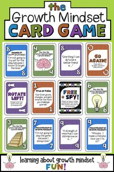 The Growth Mindset Card Game! A fun way to teach about grit, making mistakes, working towards goals and having a growth mindset. Perfect for classrooms and school counseling. What Is Growth Mindset, Growth Mindset Lessons, Growth Mindset Classroom, Growth Mindset Activities, Fixed Mindset, Growth Mindset For Kids, Growth Mindset Quotes, Coping Skills, Social Skills