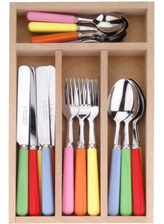 Our ever-popular solid resin-handled mixed cutlery set in blue, green, pink, yellow and red is now even more colourful with the addition of new shade bright orange. Mix and match with your favourites from our range of tableware. Cath Kidston Cutlery, Cath Kidston Kitchen, Kitchen Tools, Kitchen Decor, Kitchen Cutlery, Kitchenware, Tableware, Serveware, Cutlery Set