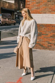 Three rules to wearing head to toe neutrals this spring on the blog! Seen here: street style at new york fashion week - colors we love to mix to create a perfect tonal look.